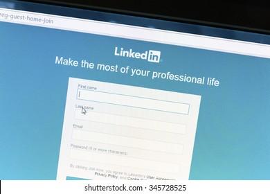 Ostersund, Sweden - December 1, 2015: Linkedin website on a computer screen. Linkedin is a business oriented social networking website.