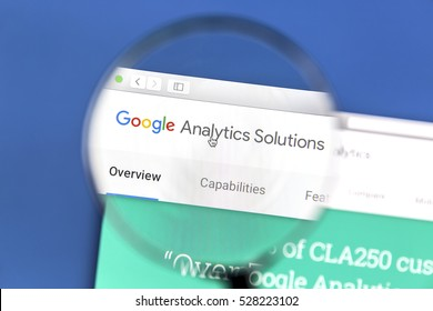 Ostersund, Sweden - December 3, 2016: Google Analytics website under a magnifying glass. Google Analytics is a web analytics service offered by Google