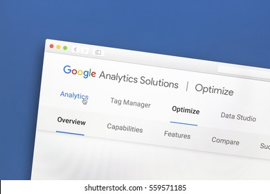 Ostersund, Sweden - Jan 17, 2017: Google Analytics website on a computer screen. Google Analytics is a web analytics service offered by Google