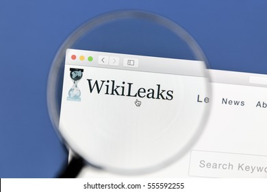 Ostersund, Sweden - January 14, 2017 Closeup of WikiLeaks website website under a magnifying glass. WikiLeaks is an international non-profit organisation that publishes secret information
