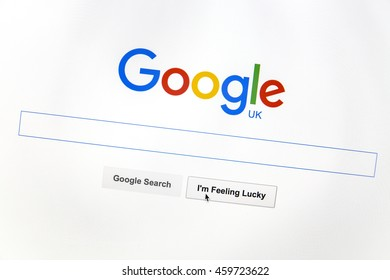 Ostersund, Sweden -July 28, 2016: Google UK website on a computer screen. Google is the world's most popular search engine