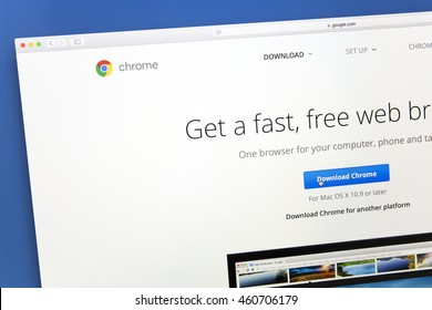 Ostersund, Sweden - July 30, 2016: Google chrome website on a computer screen. Google Chrome is a freeware web browser developed by Google.