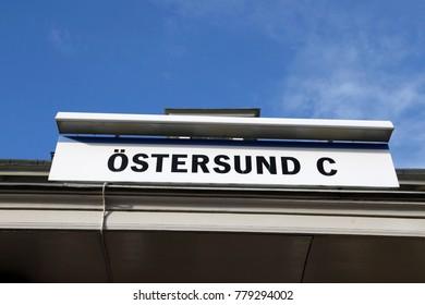 OSTERSUND, SWEDEN - JUNE 26, 2016: Ostersund Central station sign, Sweden
