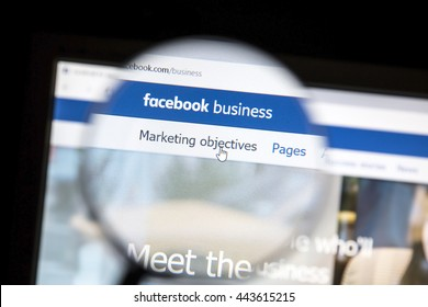 Ostersund, Sweden - June 27, 2016: Facebook business page under a magnifying glass. Facebook is the most visited social network in the world