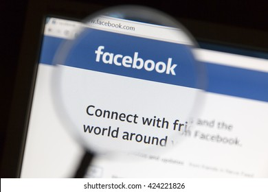 Ostersund, Sweden - May 22, 2016: Facebook's website under a magnifying glass. Facebook is the most visited social network in the world.