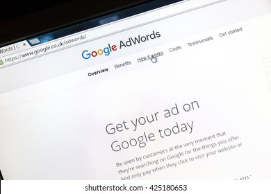 Ostersund, Sweden - May 23, 2016: Google Adwords website on a computer screen. Google AdWords is an online advertising service.
