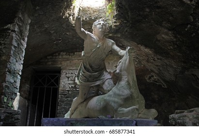 OSTIA ANTCA, ITALY -  JULY  2, 2017: Mithra God Statue at the underground Mithraeum temple in Osta Antica the ancient Roman town