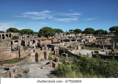 OSTIA ANTCA, ITALY  remains of Ancient Ostia town built on both the sea and the Tiber river near Rome,