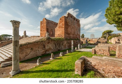 Ostia Antica, Lazio, Italy - February 1, 2013: the large archaeological site of Ostia antica, close to the modern suburb of Ostia, that was the location of the harbour city of ancient Rome