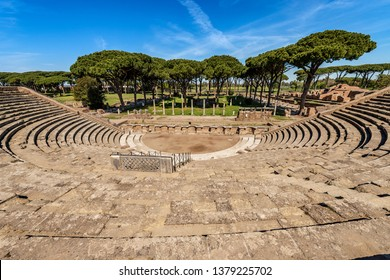 Ostia Antica - The Roman Theatre. Rome Italy, UNESCO world heritage site. Roman colony founded in the 7th century BC