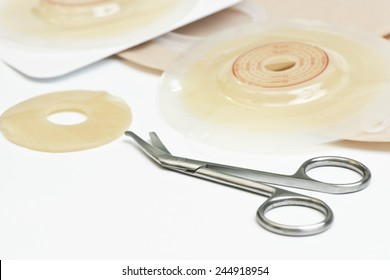 Ostomy scissors, wafers, bags and supplies.