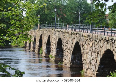 The Ostra Bron or Eastern bridge, in Karlstad, Sweden. It is Sweden's longest arched stone Bridge. Built in 1811, it has 12 arches and spans 168 meters across the river Klaralven. Scandinavia, Europe.