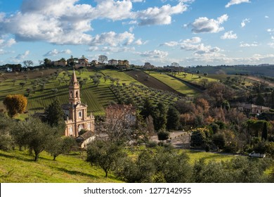 Ostra, Le Marche/Italy - january 04 2018: The iconic sanctuary of Madonna della Rosa
