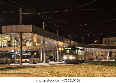 "Ostrava, Czech Republic - 29 August 2017: A tram of line 1 to ""Dubina"" is waiting for the departure at the main station. Beside the Tatra tram, there are also Solaris trolleybuses. [Long Exposure]"