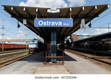 OSTRAVA, CZECH REPUBLIC - APRIL 23 2012: Trains at Ostrava railway station in Czech Republic