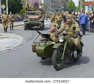 OSTRAVA, CZECH REPUBLIC - APRIL 30, 2015: Historical parade of military equipment during the celebrations of the 70th anniversary of the liberation of the city during the Second World War.