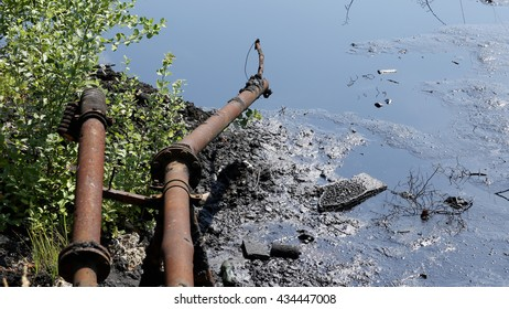 OSTRAVA, CZECH REPUBLIC, AUGUST 3, 2015: The former dump toxic waste in Ostrava, oil lagoon, Ostramo, effects nature from soil contaminated with chemicals and oil, pollution, corrupt tree, Europe, EU