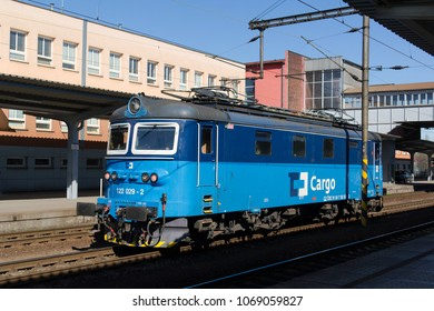 OSTRAVA, CZECH REPUBLIC / CZECHIA - APRIL 14, 2018: Skoda 242 - old retro vintage electric locomotive and engine. Logo of CD cargo - brand of carrier for transportation on the railway and railroad