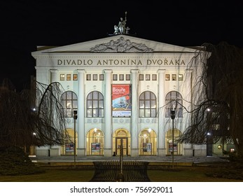 OSTRAVA, CZECH REPUBLIC - DECEMBER 13, 2016: The Antonin Dvorak Theater in night. It was built by design of Viennese architect Alexander Graf in a neo-baroque style and opened on September 28, 1907.