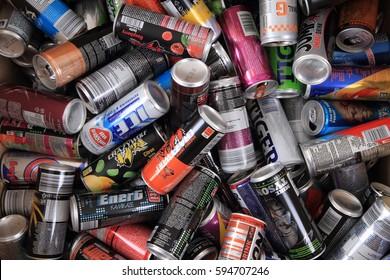 OSTRAVA, Czech republic - FEBRUARY 26, 2017. Energy drinks cans from czech supermarkets - Ostrava, Czech republic.