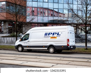 OSTRAVA, CZECH REPUBLIC - JANUARY 14, 2019: White delivery van of PPL company, partner of global DHL postal service, parked when delivering parcels. It is a Ford Transit car in longer version.