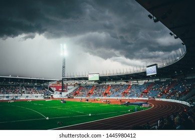 OSTRAVA, CZECH REPUBLIC, JUNE. 20. 2019: Dark sky before storm at Athletics stadium