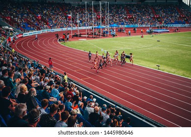 OSTRAVA, CZECH REPUBLIC, JUNE. 20. 2019: Female athletes running on the track during professional Track and Field Race