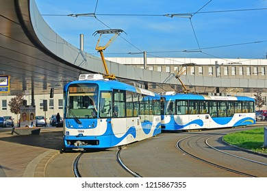 OSTRAVA, CZECH REPUBLIC - OCTOBER 6, 2018 - Pragoimex Vario LF tram, óperated by DPO, standing at the 'Ostrava hlavni nadrazi' tramway loop (terminal)
