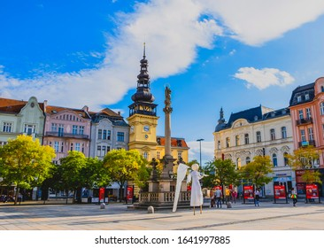 OSTRAVA / CZECH REPUBLIC - SEPTEMBER 29, 2019: Central square of Ostrava city - Masaryk Square