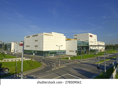 OSTRAVA, CZECH REPUBLIC-MAY 11, 2015: Shopping and Entertainment Centre Forum Nova Karolina (Forum New Karolina). Modern architecture at the site of the former coking plant Karolina in the city center