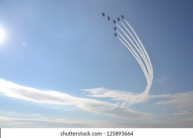 OSTRAVA, CZECH REPUBLIC-SEPTEMBER 22: RAF aerobatic team Red Arrows performs during airshow session NATO Days on September 22, 2012 in Ostrava, Czech republic. 208 000 people visited NATO Days.