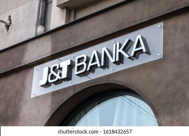 OSTRAVA, CZECHIA - JANUARY 17, 2020:  The logo of a national bank J&T Banka at Nadrazni street in Ostrava which provides financial services for customers