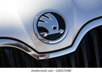 Ostrava, Czechia - September 16, 2018: Detail of Skoda Auto brand logo. Symbol of Czech car maker and producer (low depth of field)