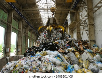Ostrava - May,17,2019,  Non Recyclable plastic waste after separation of PET and HDPE, prepared for grinding and mixing with wood and cardboards (used as a fuel for incinerator).