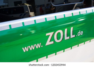 Ostrava Mosnov, Czech Republic / Czechia - September 16, 2018: Zollcontrolle ( Customs duty control ) - german police department for customs and duty control on the borders