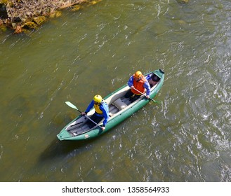 OSTRAVICE, CZECH REPUBLIC - MARCH 30, 2019: Traditional spring cruise on the river Ostravice near the village of Ostravice, mountains Beskydy, Moravia