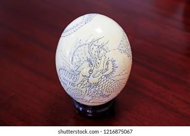 Ostrich egg carving craftwork