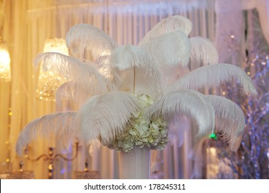 Ostrich feathers in a vase as a decoration