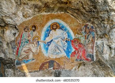 OSTROG, MONTENEGRO - JUNE 21, 2017: Mosaics in Ostrog monastery, Montenegro. Ostrog monastery is the most popular pilgrimage place in Montenegro.