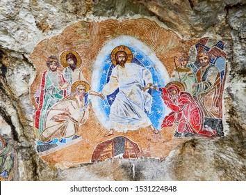 Ostrog, MONTENEGRO - MAY 3, 2019: Ostrog Monastery in Montenegro. Build inside the rock.