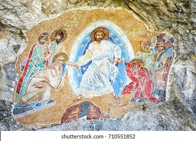 Ostrog, Montenegro - September 4, 2017: mosaic on the wall of the monastery Ostrog in Montenegro