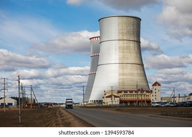 Ostrovets, The Grodno region/ Belarus - 03.28.2019:  construction Belarusian nuclear power plant