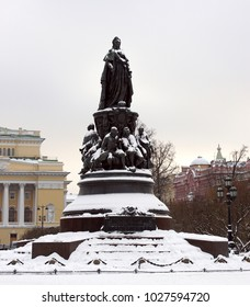 Ostrovsky square / St. Petersburg, Russia - November 14, 2016 - Monument to Catherine II - a monument on Ostrovsky square in St. Petersburg, established in honor of Empress Catherine II in 1873.
