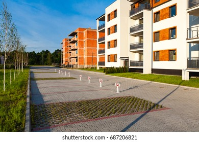 Ostrow, Poland - June 13,2016: New multi-family block and building under construction.