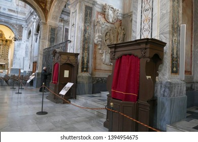 OSTUNI, ITALY - APR 9, 2019 - Confessional in the nave of the Cathedral,Ostuni, Puglia, Italy