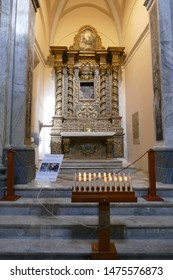 OSTUNI, ITALY - APR 9, 2019 - Baroque chapel of the Holy Trinity in the Church of St Francis Assisi, Ostuni, Puglia, Italy