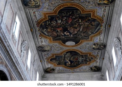 OSTUNI, ITALY - APR 9, 2019 - Frescoed ceiling of the Church of St Francis Assisi, Ostuni, Puglia, Italy