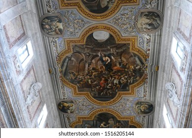 OSTUNI, ITALY - APR 9, 2019 - Fresco scenes from life of Jesus on the ceiling of the Church of St Francis Assisi, Ostuni, Puglia, Italy