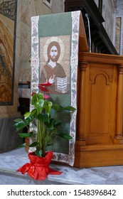 OSTUNI, ITALY - APR 9, 2019 - Painting of  Christ Pantocrater in chapel of Church of St Francis Assisi, Ostuni, Puglia, Italy