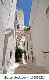 Ostuni lane in the Old Town (the White City), Puglia, Italy